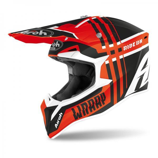 AIROH WRAAP BROKEN Orange Matt Helmet Arancio Opaco cabutti motor